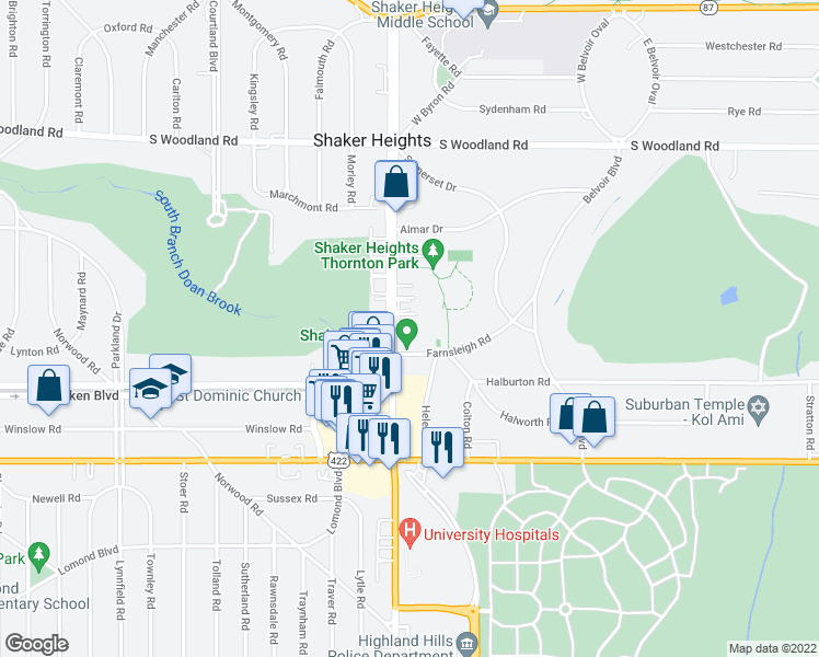 map of restaurants, bars, coffee shops, grocery stores, and more near 3351 Warrensville Center Road in Shaker Heights