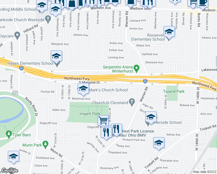 map of restaurants, bars, coffee shops, grocery stores, and more near Fernway Ave in Cleveland