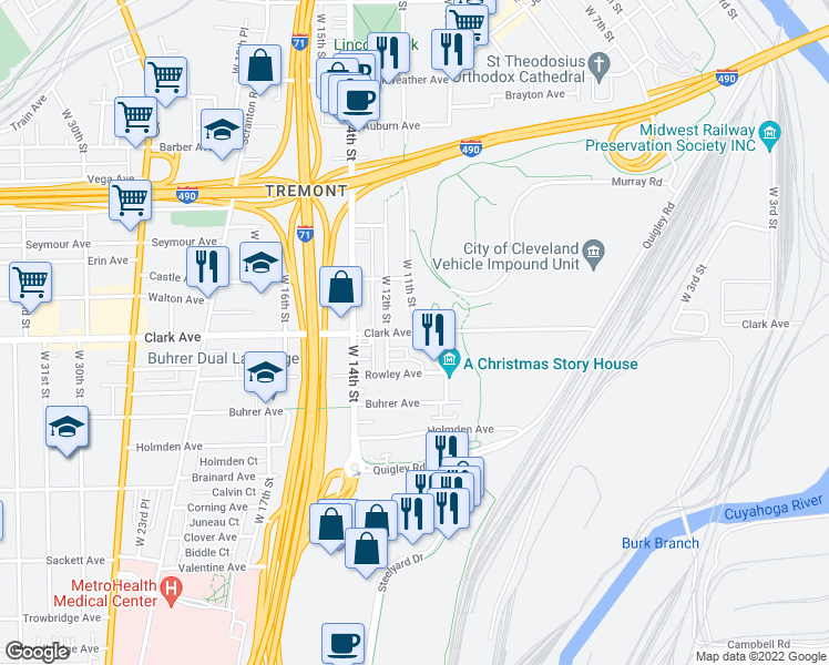 map of restaurants, bars, coffee shops, grocery stores, and more near Clark Avenue & West 11th Street in Cleveland