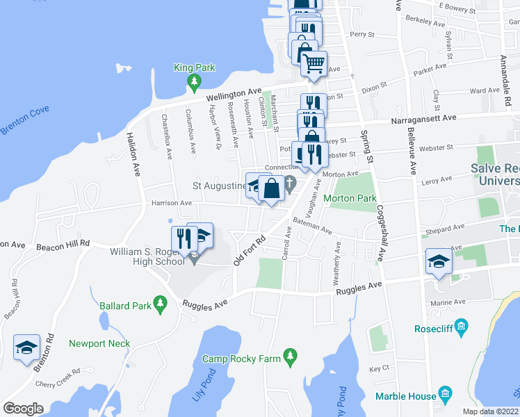 map of restaurants, bars, coffee shops, grocery stores, and more near in Newport