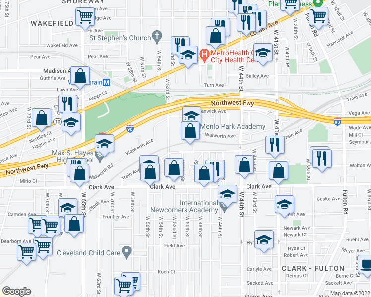 map of restaurants, bars, coffee shops, grocery stores, and more near 5002 Train Avenue in Cleveland