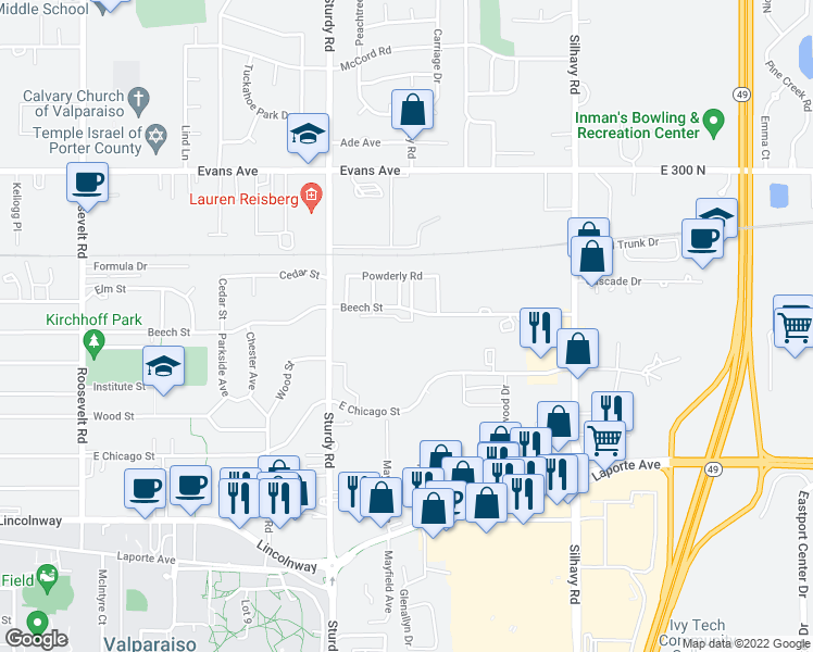 map of restaurants, bars, coffee shops, grocery stores, and more near 2210 Beech Street in Valparaiso