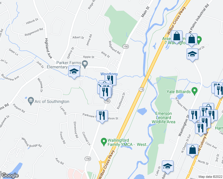 map of restaurants, bars, coffee shops, grocery stores, and more near 77 North Turnpike Road in Wallingford