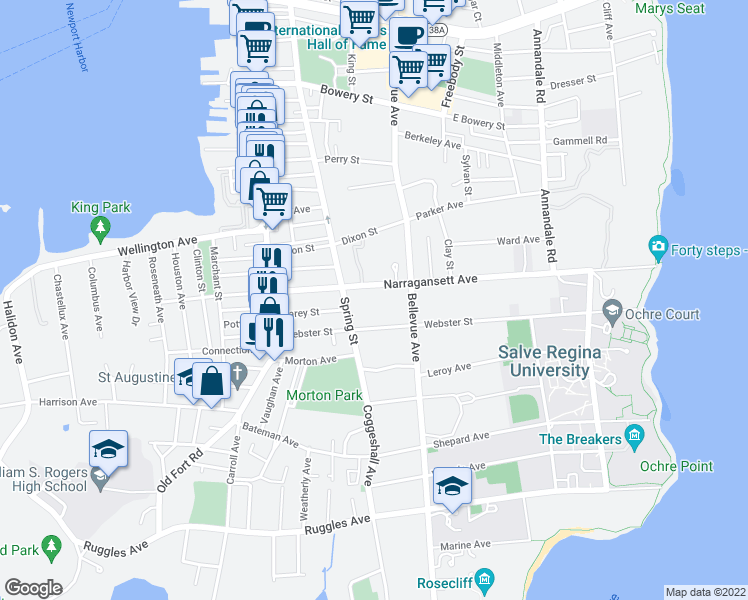 map of restaurants, bars, coffee shops, grocery stores, and more near 61 Narragansett Avenue in Newport