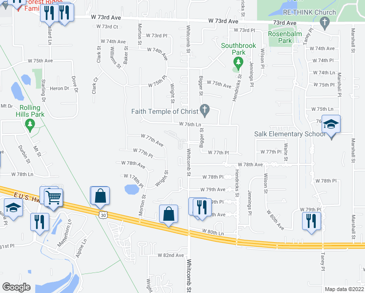 map of restaurants, bars, coffee shops, grocery stores, and more near 3951 West 77th Place in Merrillville