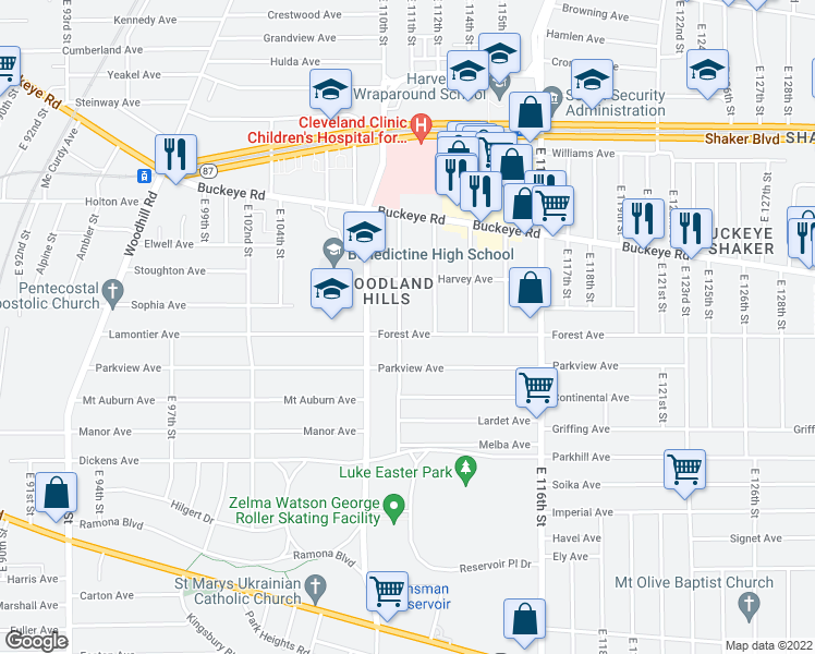 map of restaurants, bars, coffee shops, grocery stores, and more near 11105 Forest Avenue in Cleveland
