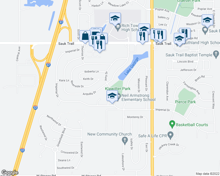 map of restaurants, bars, coffee shops, grocery stores, and more near Amy Drive in Richton Park