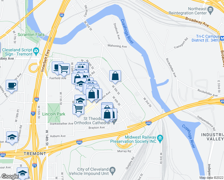 map of restaurants, bars, coffee shops, grocery stores, and more near Jefferson Avenue in Cleveland