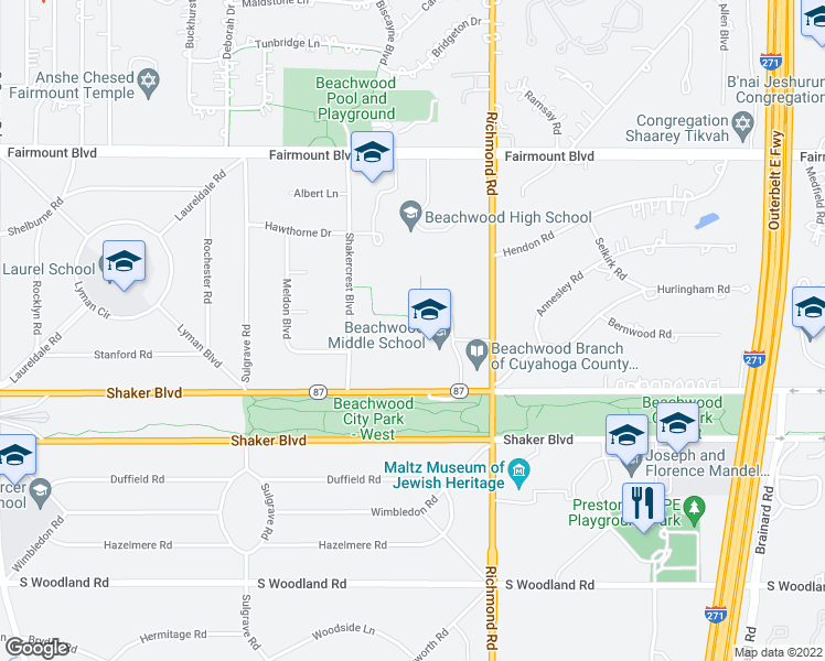 map of restaurants, bars, coffee shops, grocery stores, and more near 2860 Richmond Road in Beachwood