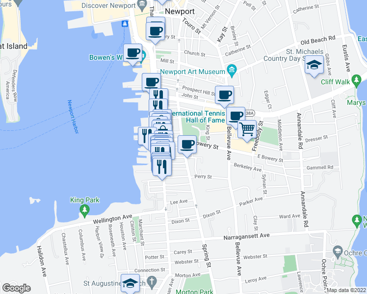 map of restaurants, bars, coffee shops, grocery stores, and more near Spring St & Howard St in Newport