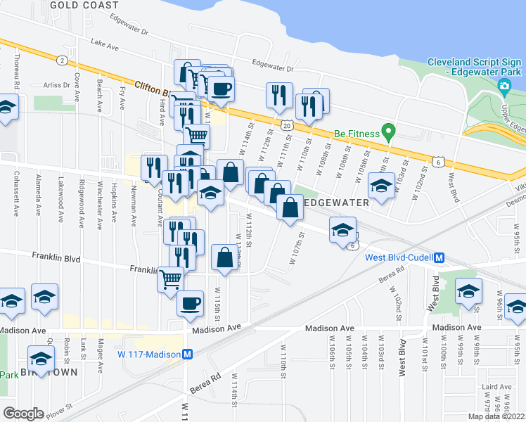 map of restaurants, bars, coffee shops, grocery stores, and more near 11014 Detroit Avenue in Cleveland