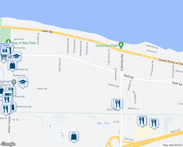 map of restaurants, bars, coffee shops, grocery stores, and more near 446 Huntmere Drive in Bay Village