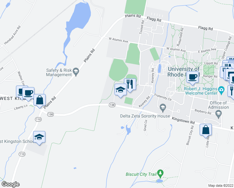 map of restaurants, bars, coffee shops, grocery stores, and more near 98 West Independence Way in South Kingstown