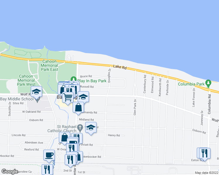 map of restaurants, bars, coffee shops, grocery stores, and more near Russell Road in Bay Village