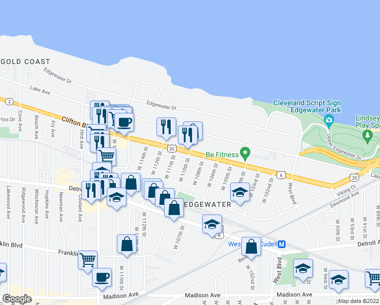 map of restaurants, bars, coffee shops, grocery stores, and more near 1264 West 108th Street in Cleveland