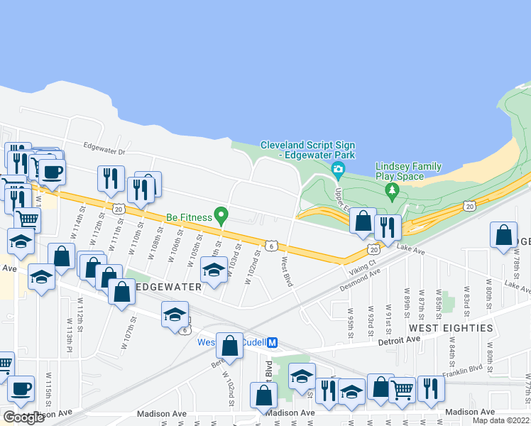 map of restaurants, bars, coffee shops, grocery stores, and more near 10017 Lake Avenue in Cleveland