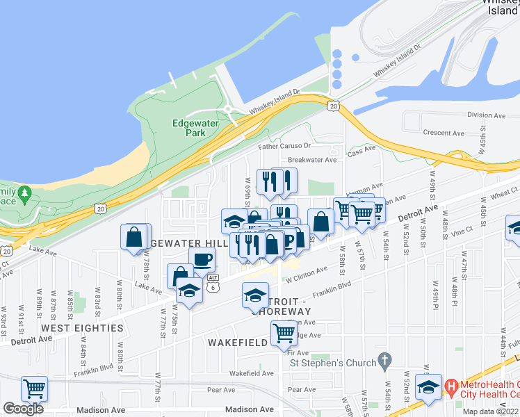 map of restaurants, bars, coffee shops, grocery stores, and more near 6702 Herman Avenue in Cleveland