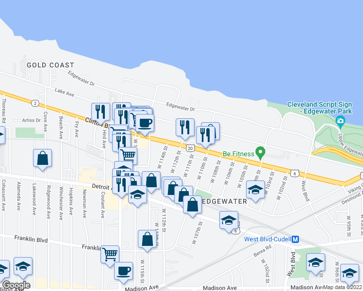 map of restaurants, bars, coffee shops, grocery stores, and more near Clifton Blvd & W 112th St in Cleveland