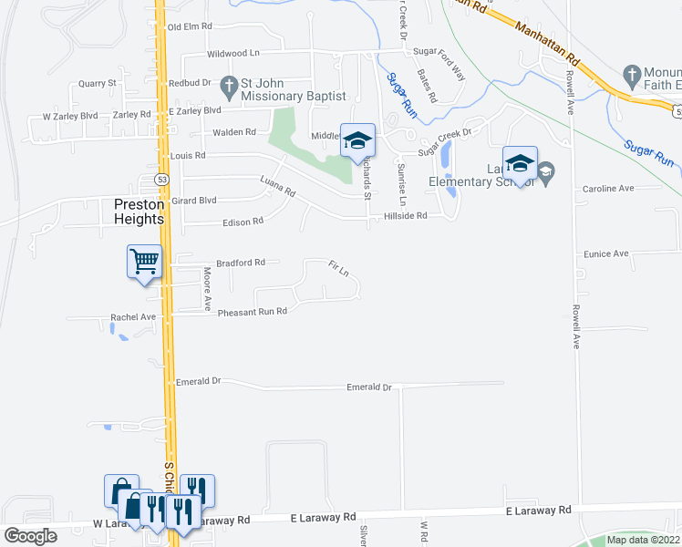 map of restaurants, bars, coffee shops, grocery stores, and more near 412 Fir Lane in Joliet