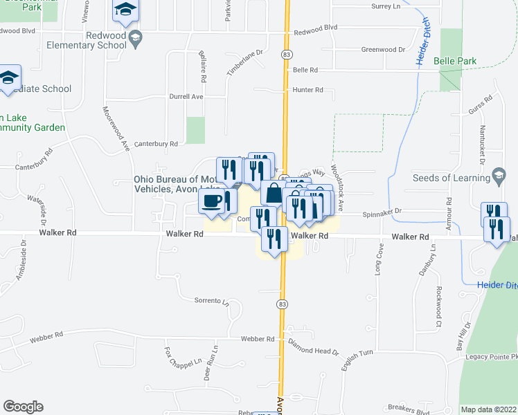 map of restaurants, bars, coffee shops, grocery stores, and more near 148 Community Drive in Avon Lake