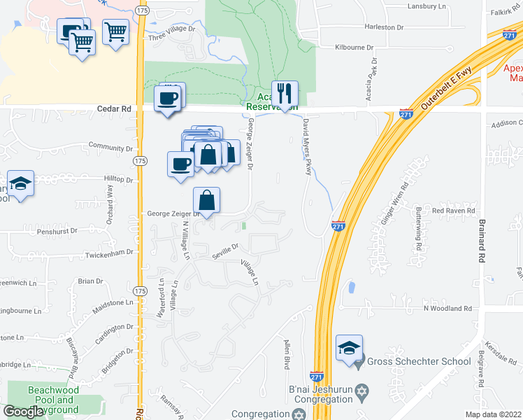 map of restaurants, bars, coffee shops, grocery stores, and more near 26945 Amhearst Circle in Beachwood