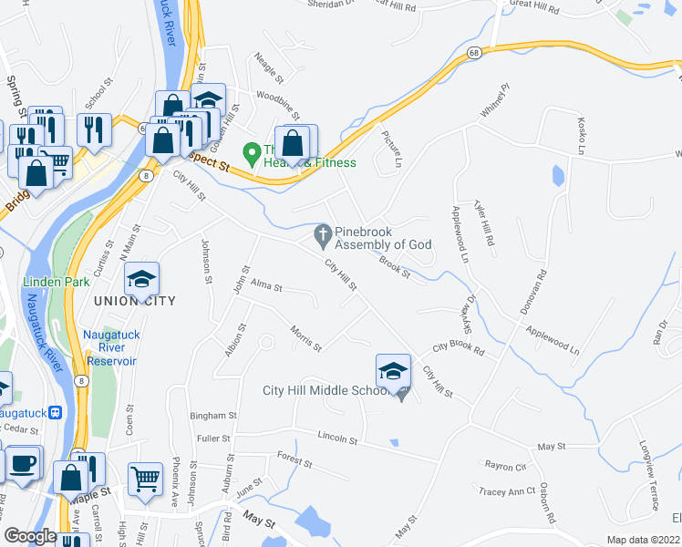 map of restaurants, bars, coffee shops, grocery stores, and more near 198-278 City Hill Street in Naugatuck
