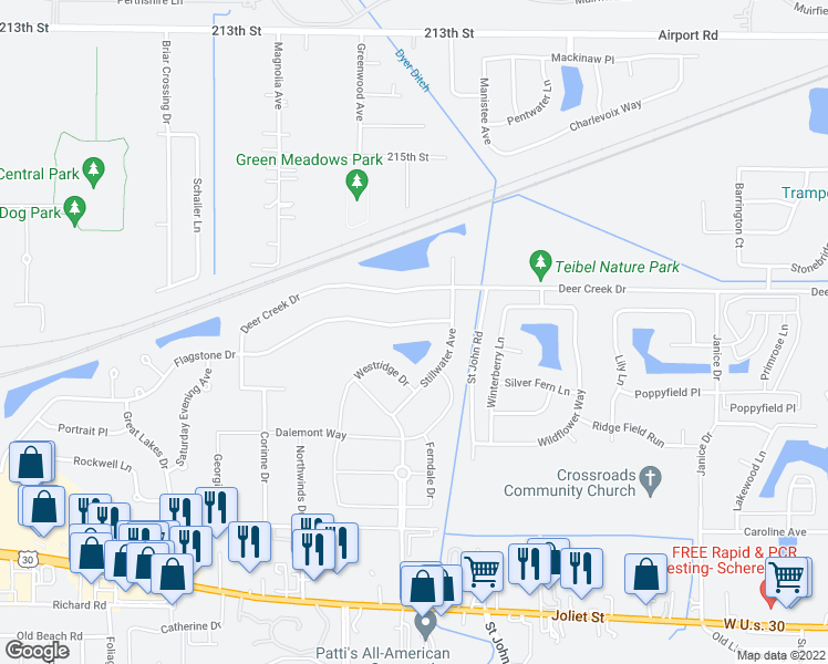 map of restaurants, bars, coffee shops, grocery stores, and more near 1452 Flagstone Drive in Dyer