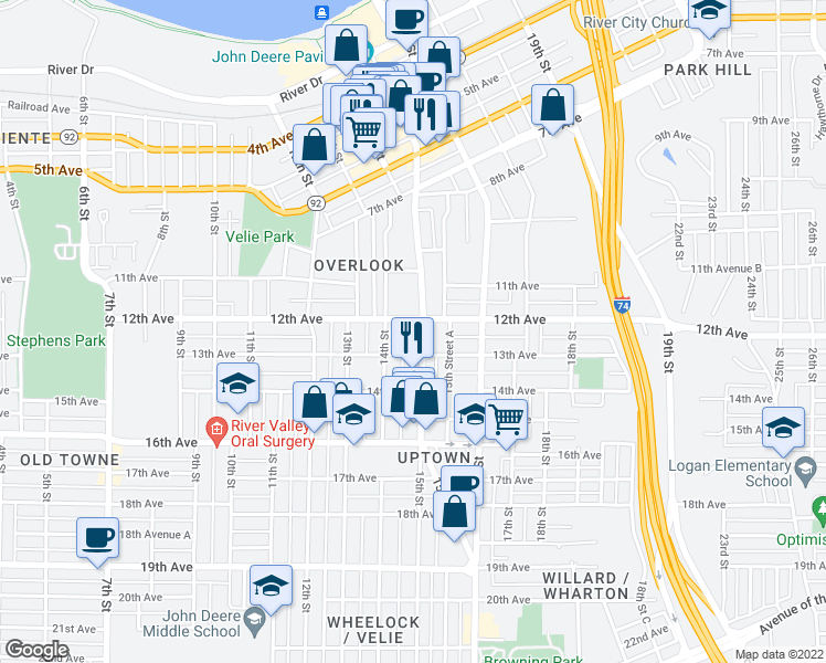 map of restaurants, bars, coffee shops, grocery stores, and more near 1215 15th Street in Moline