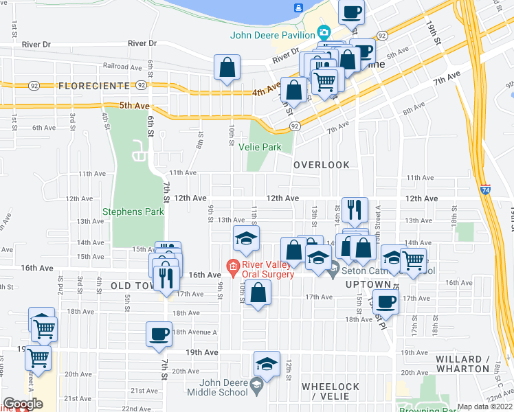 map of restaurants, bars, coffee shops, grocery stores, and more near 1210 11th Street in Moline