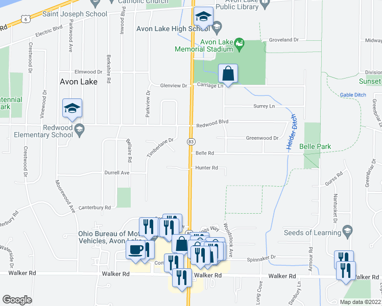 map of restaurants, bars, coffee shops, grocery stores, and more near 44011 Belle Road in Avon Lake