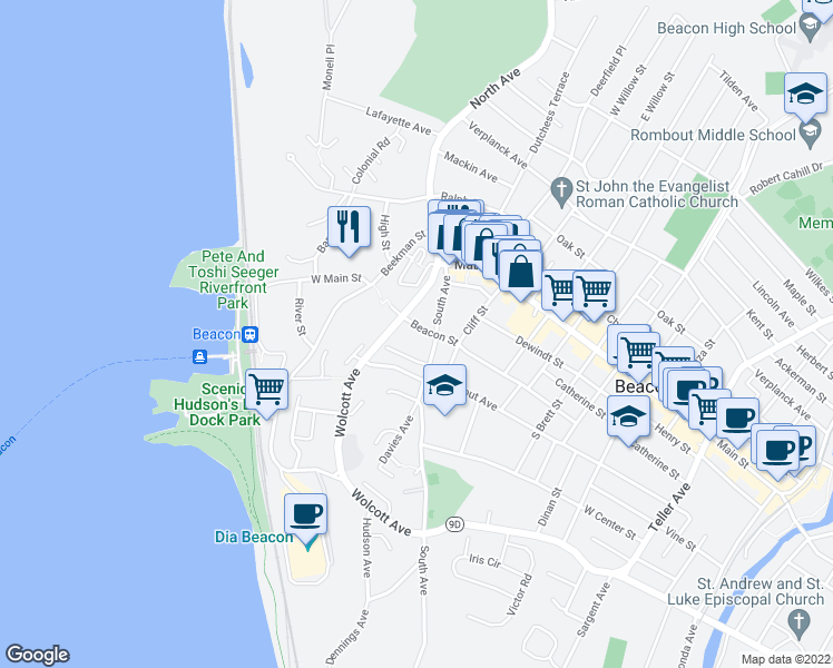 map of restaurants, bars, coffee shops, grocery stores, and more near 27 Beacon Street in Beacon