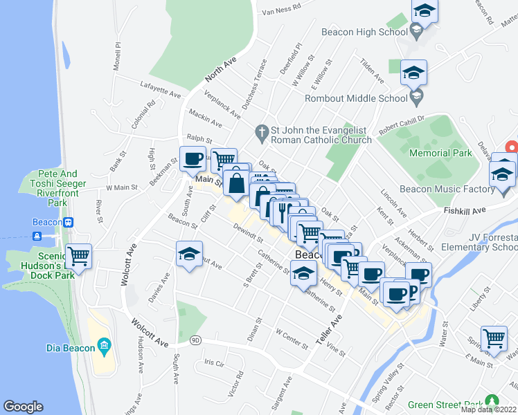 map of restaurants, bars, coffee shops, grocery stores, and more near 226 Main Street in Beacon