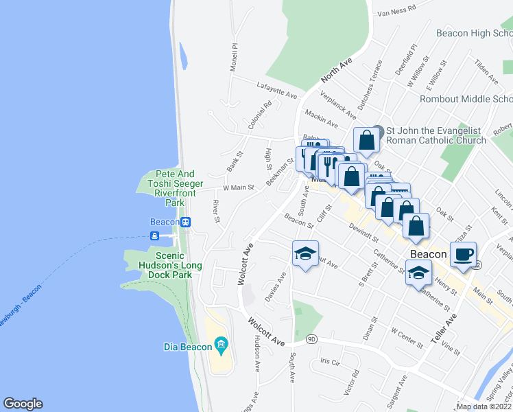 map of restaurants, bars, coffee shops, grocery stores, and more near 30 Beekman Street in Beacon