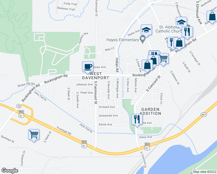 map of restaurants, bars, coffee shops, grocery stores, and more near South Nevada Avenue in Davenport