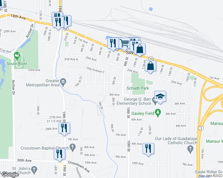 map of restaurants, bars, coffee shops, grocery stores, and more near 312 8th Street in Silvis