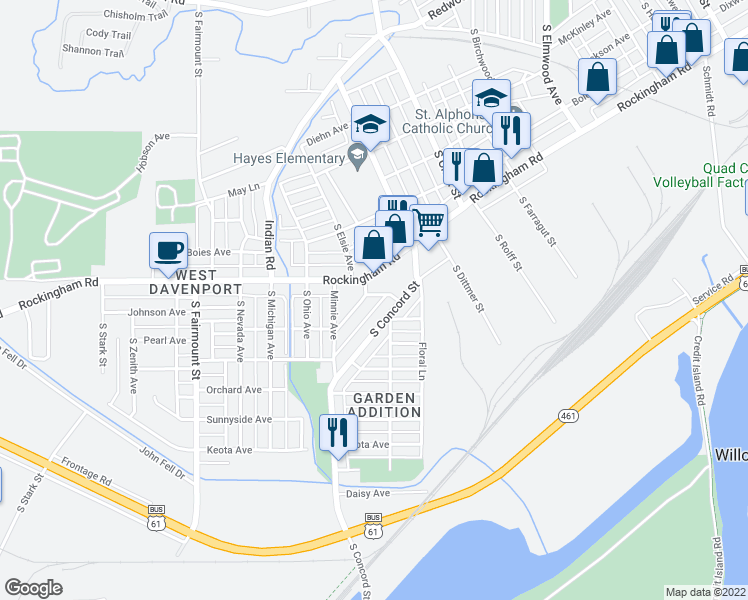 map of restaurants, bars, coffee shops, grocery stores, and more near 1001 South Elsie Avenue in Davenport