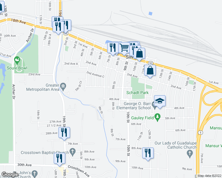 map of restaurants, bars, coffee shops, grocery stores, and more near 302 8th Street in Silvis
