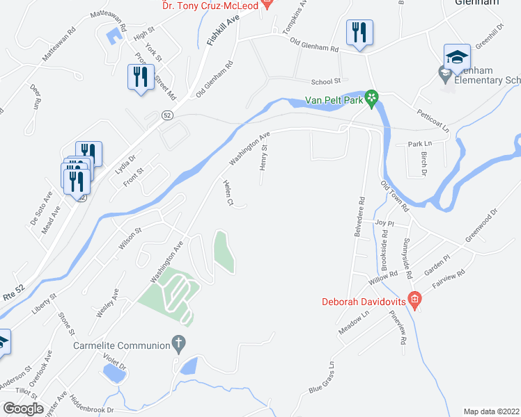 map of restaurants, bars, coffee shops, grocery stores, and more near 46 Helen Court in Beacon