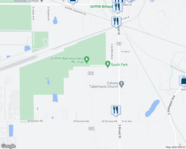 map of restaurants, bars, coffee shops, grocery stores, and more near 433 Canterbury Road in Griffith