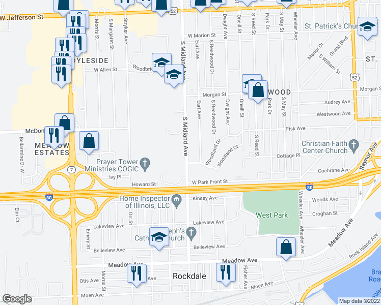 map of restaurants, bars, coffee shops, grocery stores, and more near 426 South Midland Avenue in Joliet