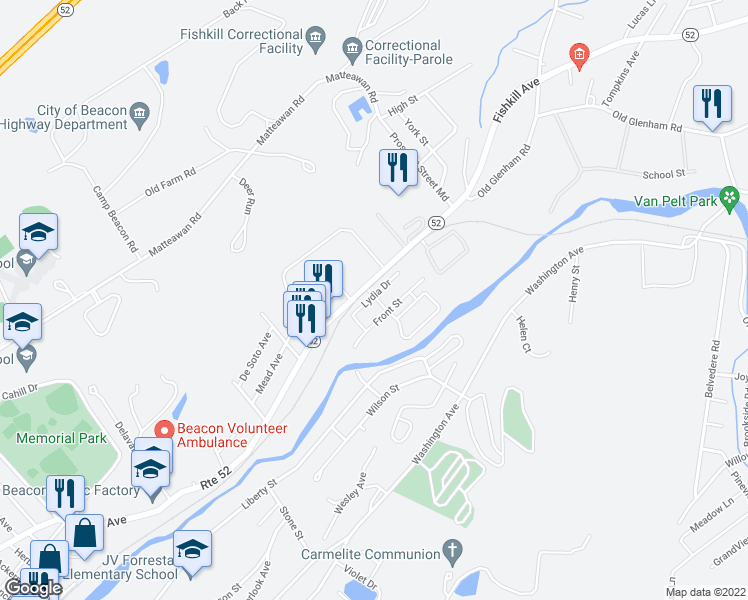 map of restaurants, bars, coffee shops, grocery stores, and more near 6 Mill Street in Beacon