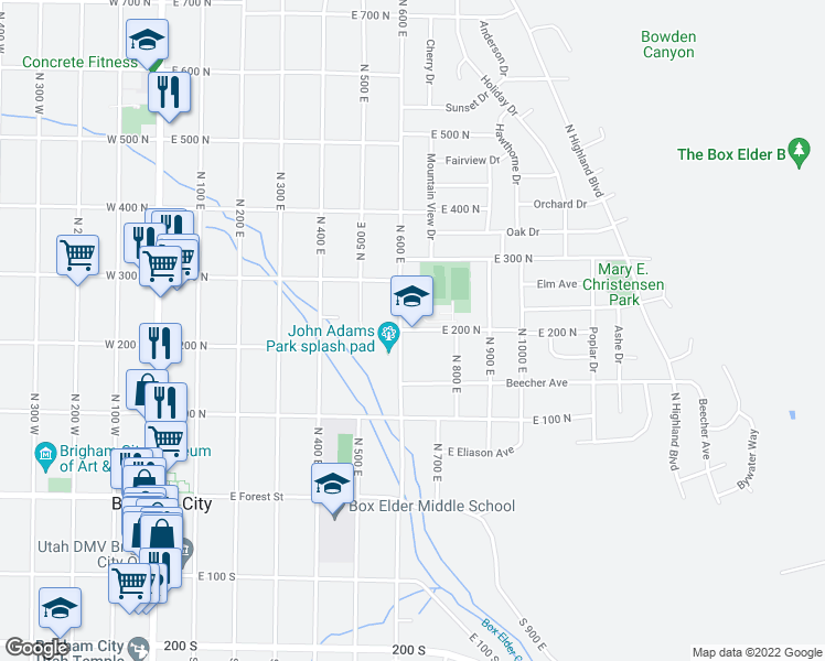 map of restaurants, bars, coffee shops, grocery stores, and more near in Brigham City
