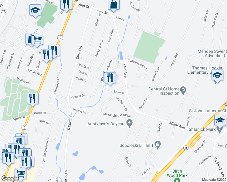 map of restaurants, bars, coffee shops, grocery stores, and more near 172-398 Scott Street in Meriden