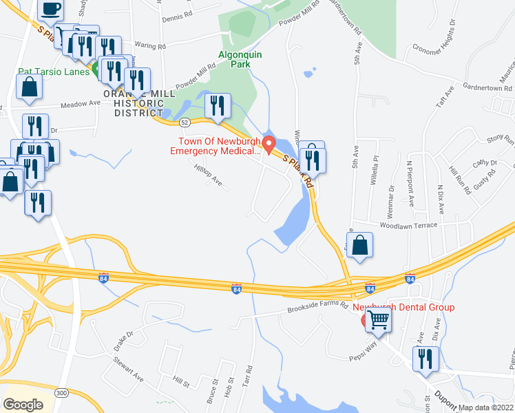 map of restaurants, bars, coffee shops, grocery stores, and more near 44 Wintergreen Avenue in Newburgh