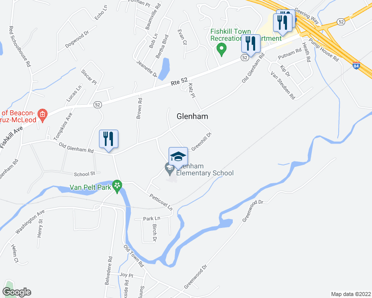 map of restaurants, bars, coffee shops, grocery stores, and more near 2 Greenhill Drive in Fishkill