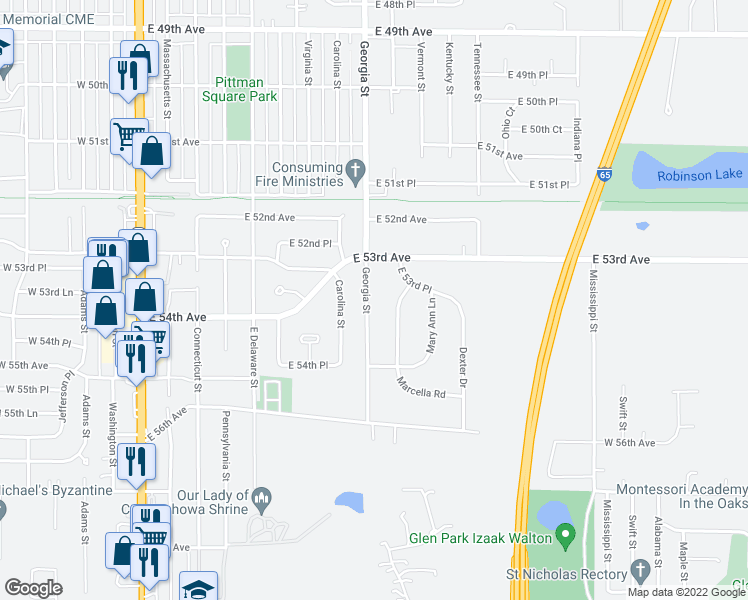 map of restaurants, bars, coffee shops, grocery stores, and more near 5345 Georgia Street in Merrillville