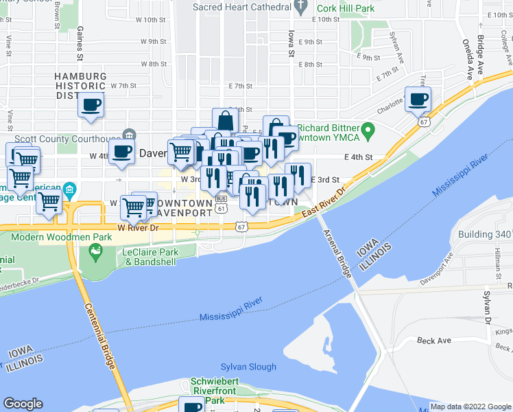 map of restaurants, bars, coffee shops, grocery stores, and more near 217 East 2nd Street in Davenport