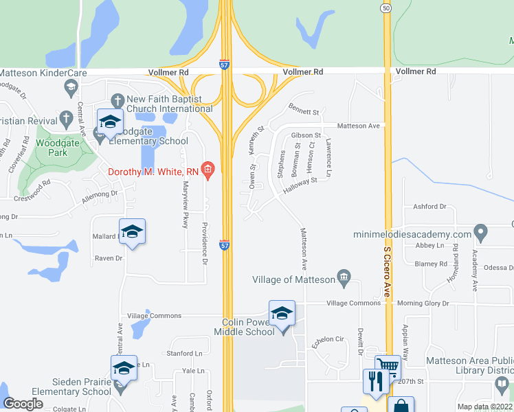 map of restaurants, bars, coffee shops, grocery stores, and more near 175 Owen Street in Matteson