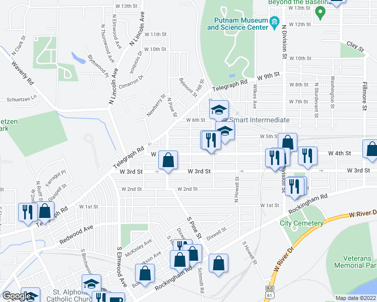 map of restaurants, bars, coffee shops, grocery stores, and more near 406 Oak Street in Davenport
