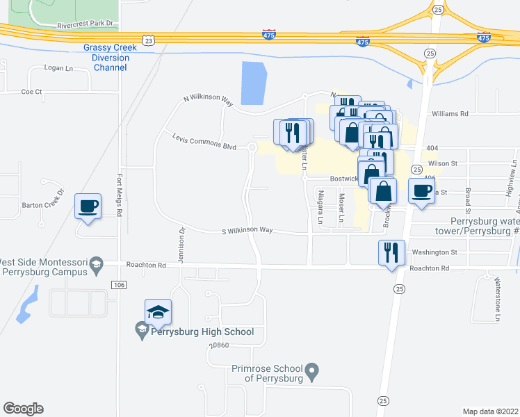 map of restaurants, bars, coffee shops, grocery stores, and more near 7100 South Wilkinson Way in Perrysburg